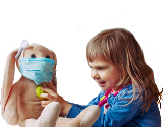 A child checks a stuffed animal's heart with a stethoscope.