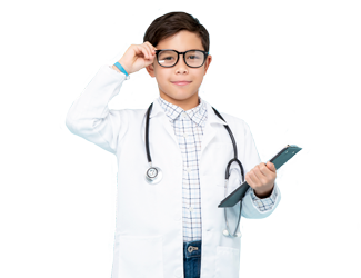 A child dressed up like a doctor