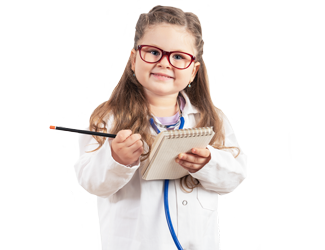 A child dressed up like a doctor with a notepad