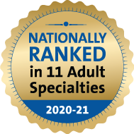 Ranked rationally in 11 adult specialties by U.S. News and World Report