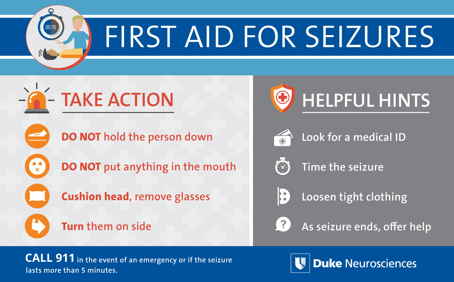 First Aid for Seizures. Take action: DO NOT hold the person down. DO NOT put anything in the mouth. Cushion head, remove glasses. Turn them on side. Helpful hints include: Look for a medical ID. Time the seizure. Loosen tight clothing. As seizure ends, offer help. Call 911 in the eent of an emergency or if the seizure lasts more than 5 minutes.