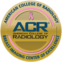 The gold ACR Breast Imaging Center of Excellence badge.