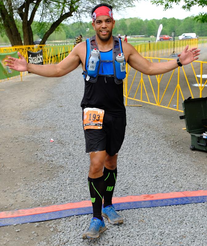 Mendez crosses the finish line