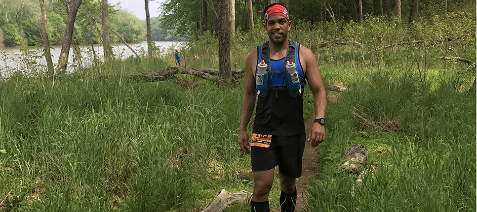 Harry Mendez Jr. pauses during the 50-mile race