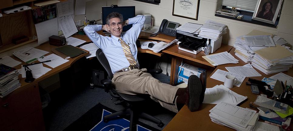 Dr. Lefkowitz in his Duke University office