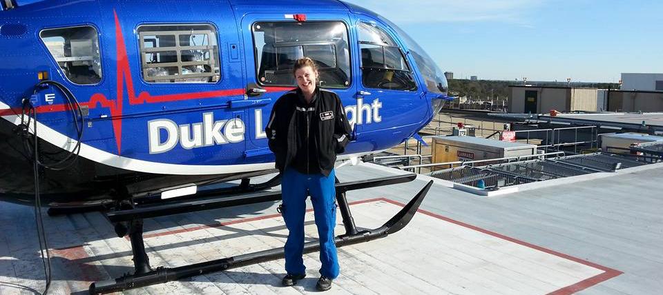 Nichole at work as a life flight nurse for Duke.