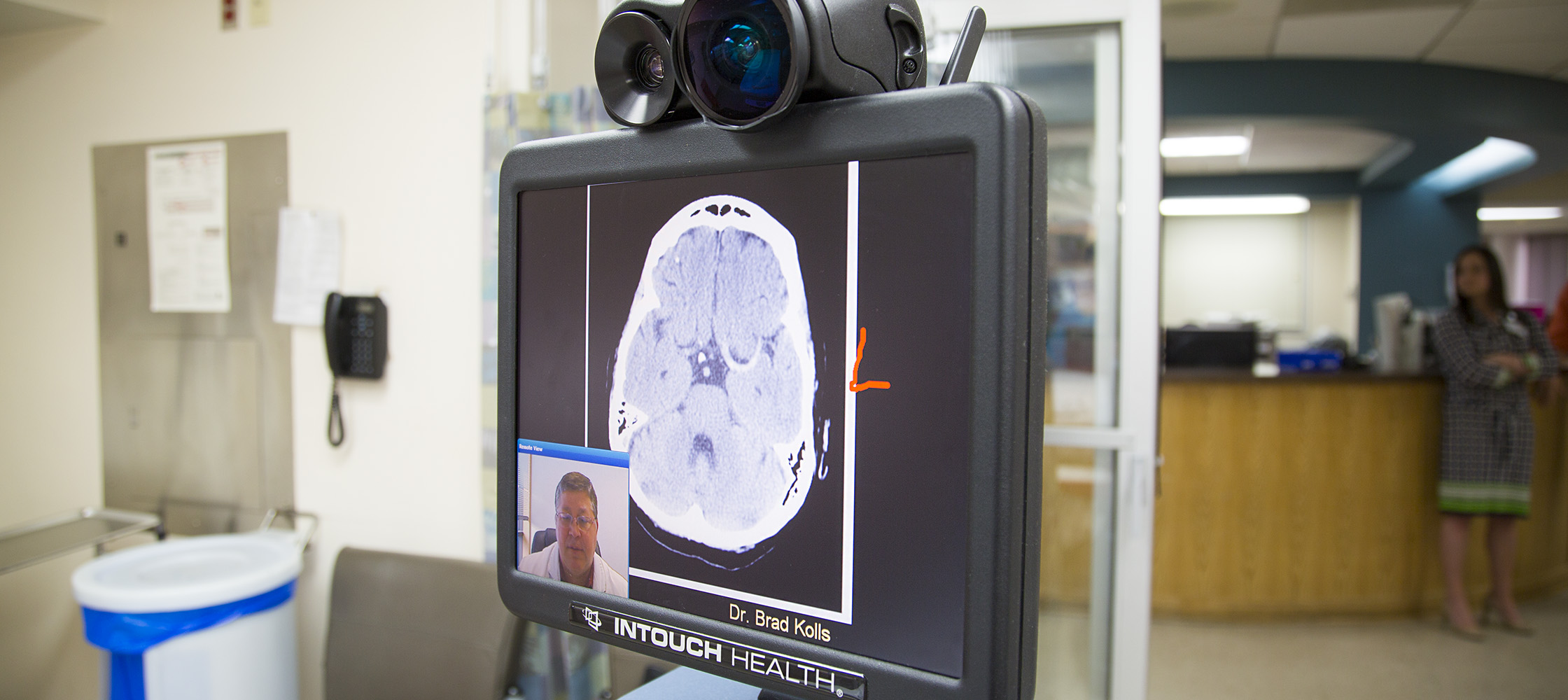Duke neurologists view CT scans and discuss them with the patient via telemedicine.