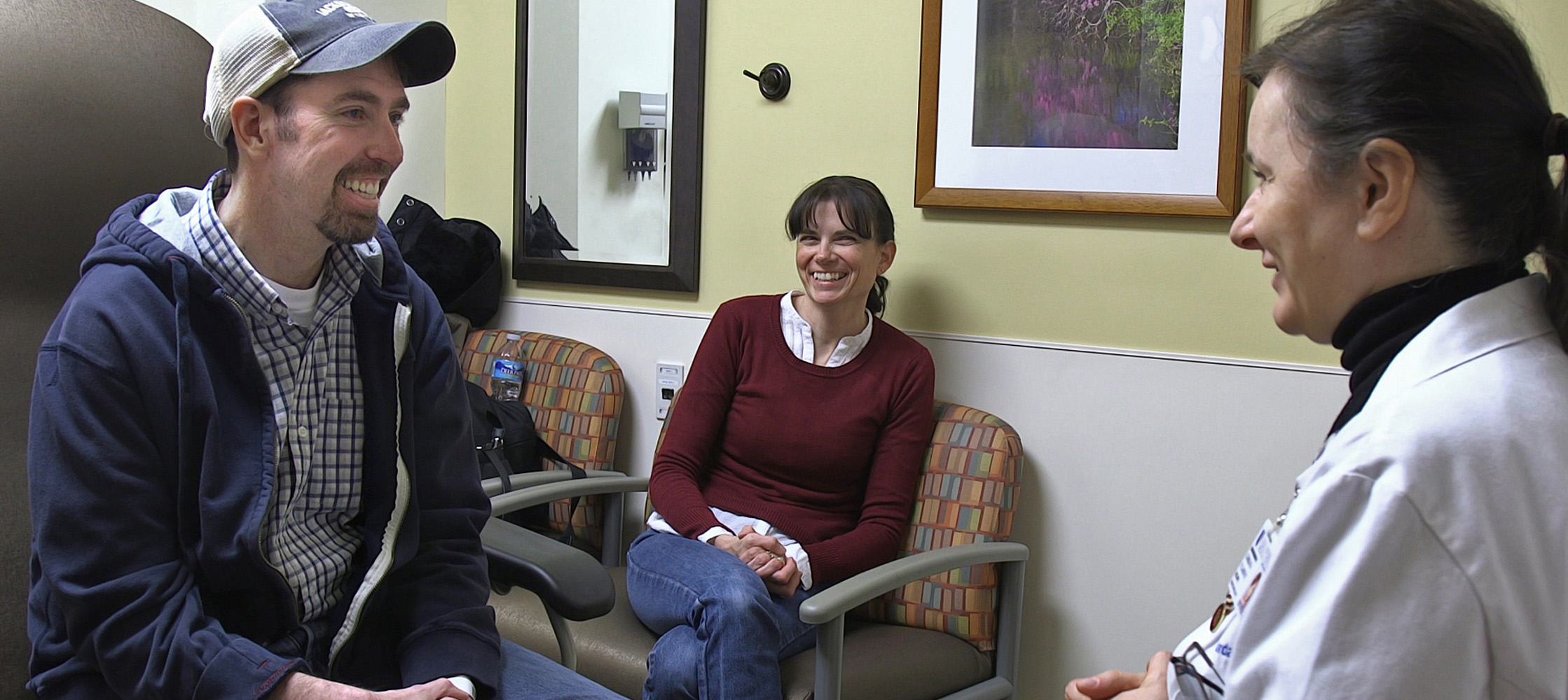 Brendan Steele and his wife meet with his neuro-oncologist Gordana Vlahovic, MD.