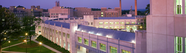 A photo of Duke South Clinics at night
