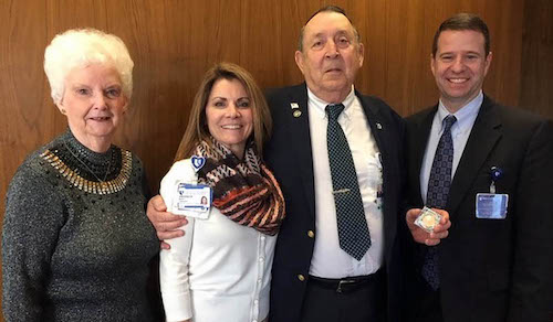 (L to R): Paige Ryder; Mary Lindsay, Duke Heart Center Associate Chief Nursing Officer; John Ryder; Thomas Owens, MD, DUH President