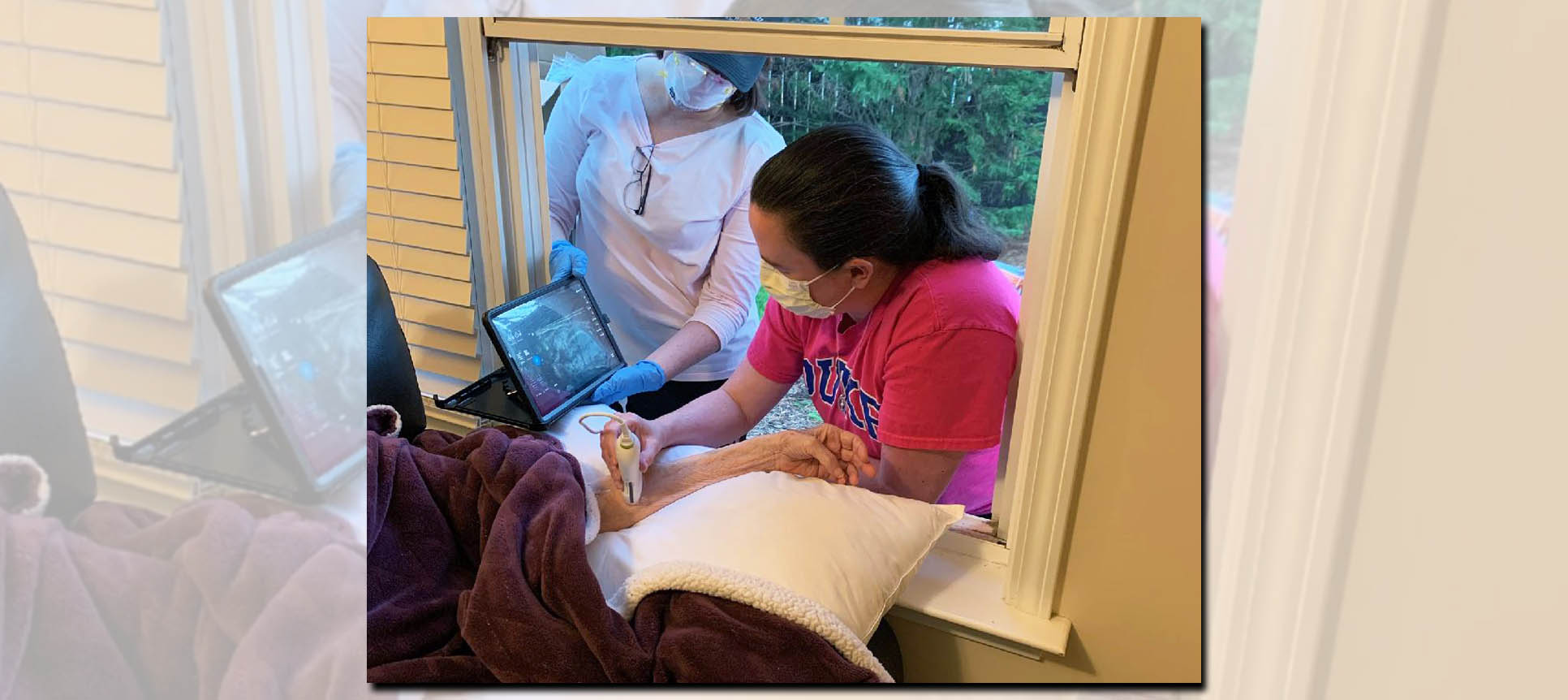 Duke HomeCare & Hospice home infusion nurses gave treatment through a window for a patient in need.