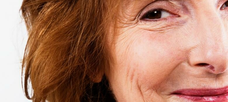 Close up of a woman's face with wrinkles