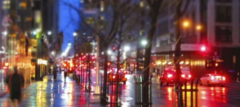 Blurry city streets