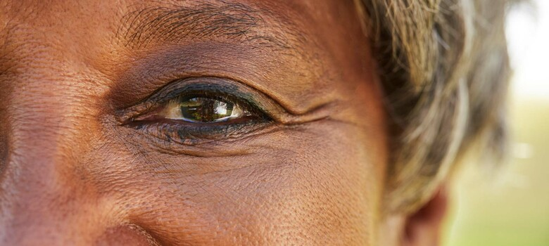 A close-up of a woman's eye
