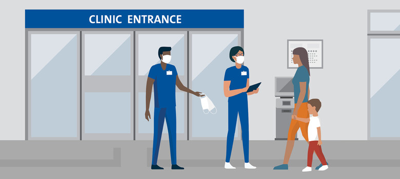 A graphic of a woman and child getting masks at a clinic entrance