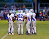 A football team huddles on the field
