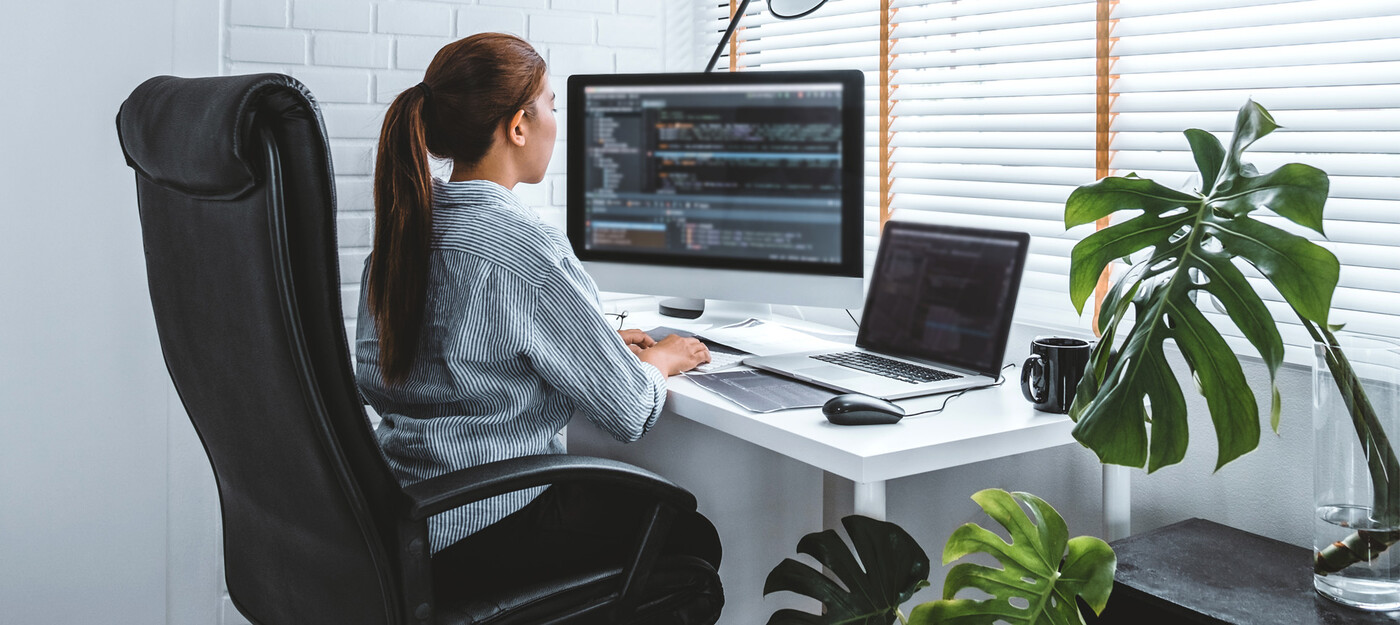 Working from home can be an advantage because of where you work. And you can change it up. Be aware of your body and what it's trying to tell you if there is pain related to your spine or back.