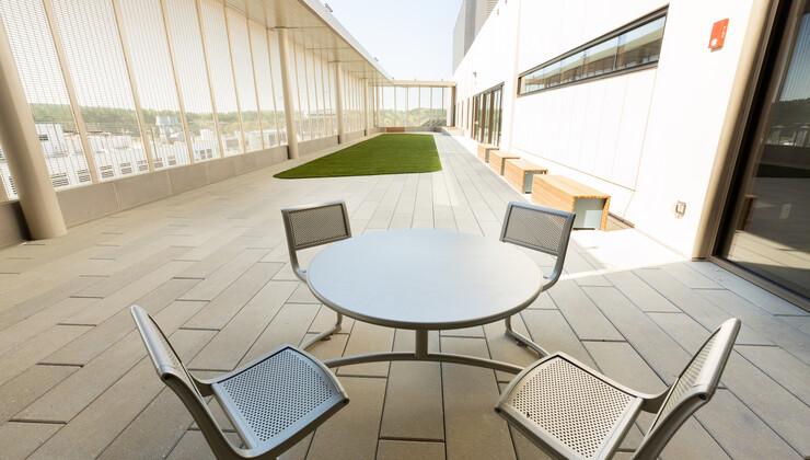 The active courtyard at Duke Behavioral Health Center North Durham