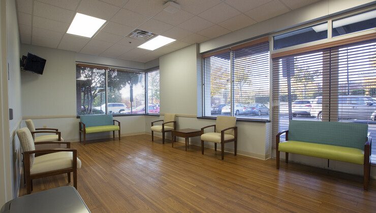 The waiting area at Duke Urgent Care Falls Valley.