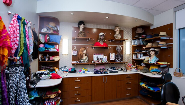 A boutique for purchasing wigs and other cancer treatment needs