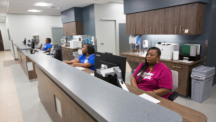 Duke Health Center South Durham checkin desks