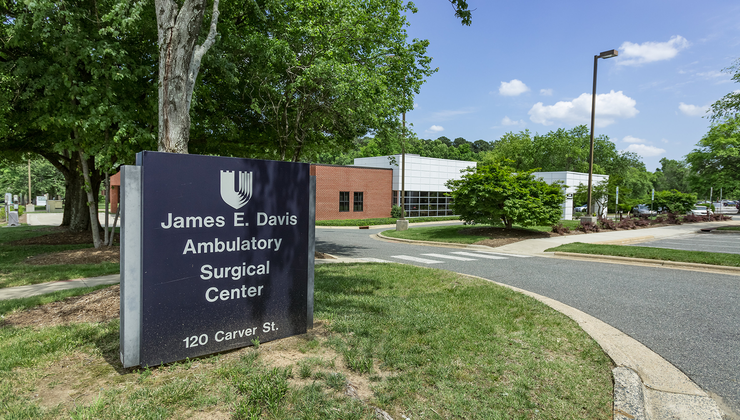The James B. Davis Ambulatory Surgical Center, a multi-specialty outpatient surgery in Durham at 120 East Carver Street.