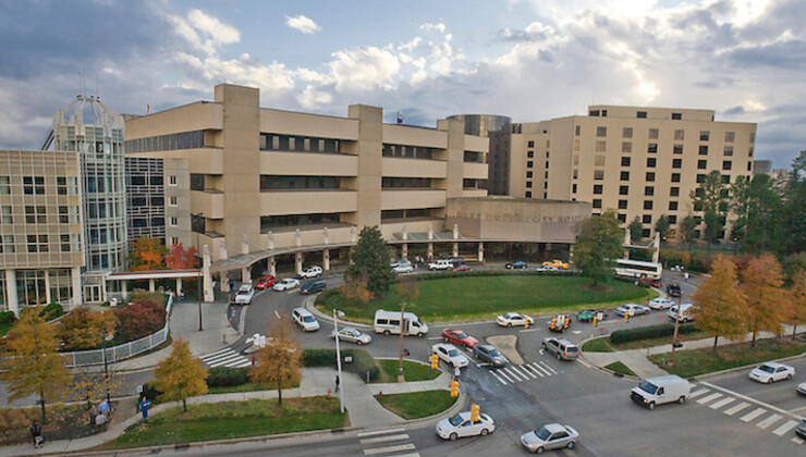 Exterior of Duke University Hospital in the fall