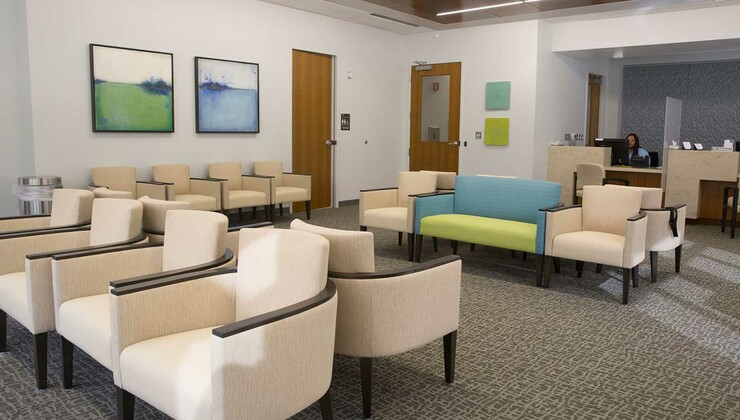 Reception area of Duke Primary Care Midtown