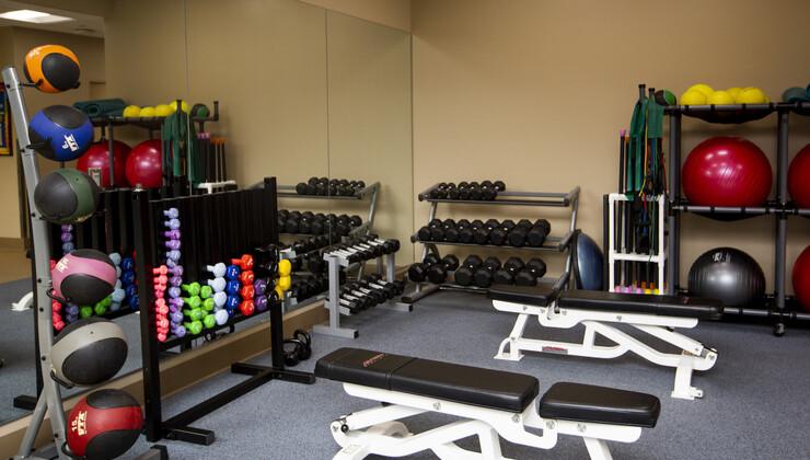 Free Weight Area at Duke Cardiopulmonary Rehabilitation at Croasdaile