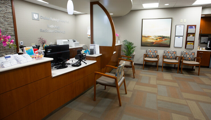 Side View of Duke Women's Cancer Care Raleigh Check-In Area