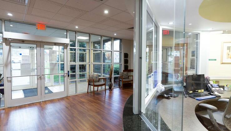 The lobby of Duke Cancer Center Cary