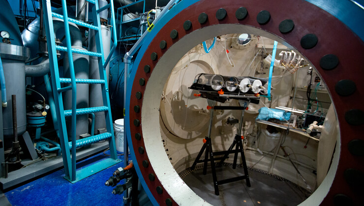 An interior view of the deep experimental hyperbaric chamber that can descend to a maximum depth of 3,600 feet beneath sea level.