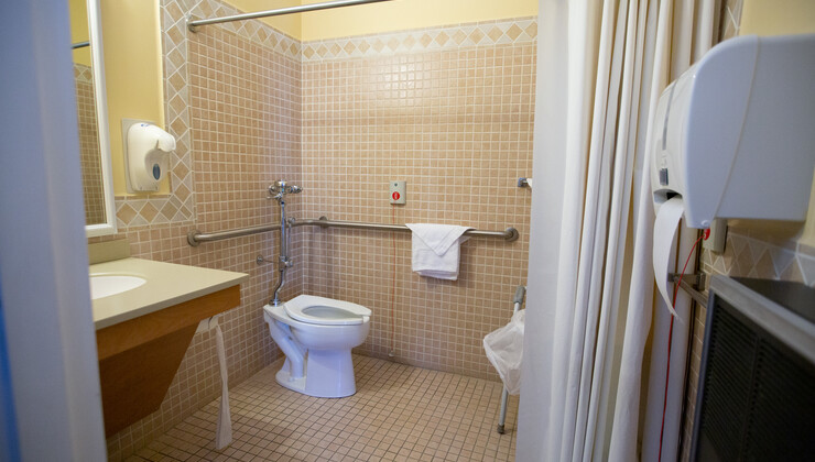 A restroom located inside a private patient room at Hock Family Pavilion.