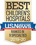 A gold badge shows Duke is nationally ranked in 9 pediatric specialties for 2019 to 2020