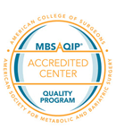 A badge from the American College of Surgeons and American Society for Metabolic and Bariatric Surgery for an Accredited Center Quality Program
